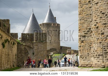 CARCASSONNE, FRANCE - MAY 05, 2015: Medieval castle of Carcassonne Languedoc - Roussillon France