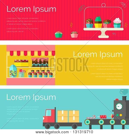 Horizontal multicolored sweet candy banner set with description of selling cakes in stores production and logistics vector illustration