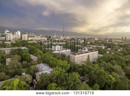 ALMATY KAZAKHSTAN - May 25 2016: Panoramic aerial view of Almaty city Kazakhstan.