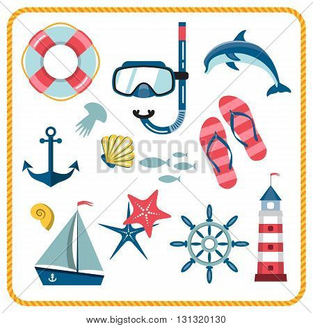 Vector set of nautical and marine icons isolated on a white background. Different sea objects. Flat style illustration