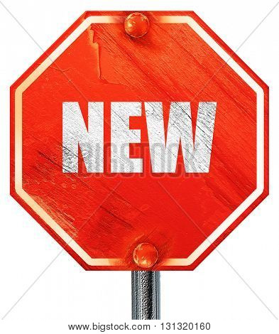 New sign background, 3D rendering, a red stop sign