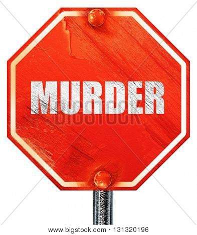 murder, 3D rendering, a red stop sign