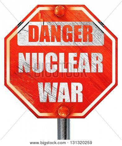 Nuclear danger background, 3D rendering, a red stop sign
