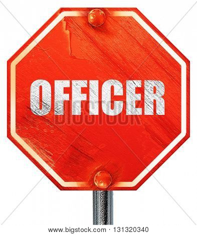 officer, 3D rendering, a red stop sign