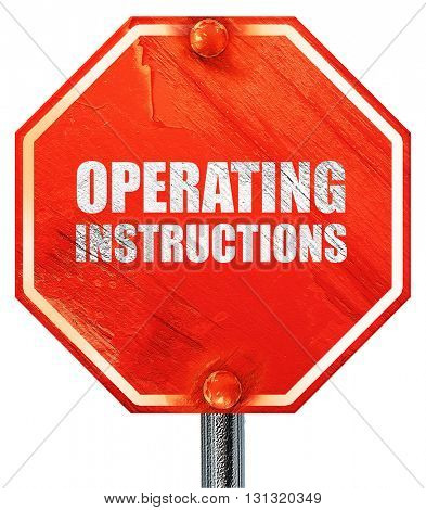 operating instructions, 3D rendering, a red stop sign
