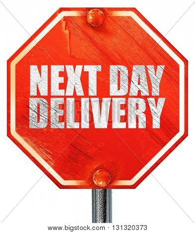next day delivery, 3D rendering, a red stop sign