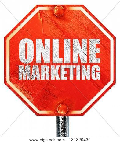 online marketing, 3D rendering, a red stop sign