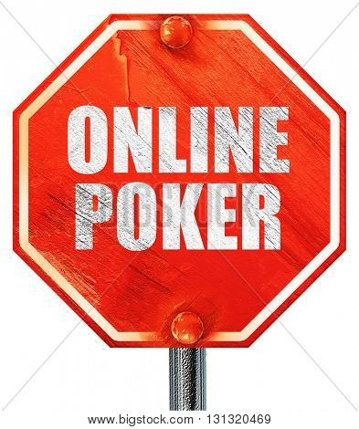 online poker, 3D rendering, a red stop sign