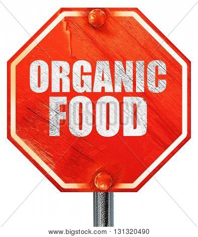 organic food, 3D rendering, a red stop sign