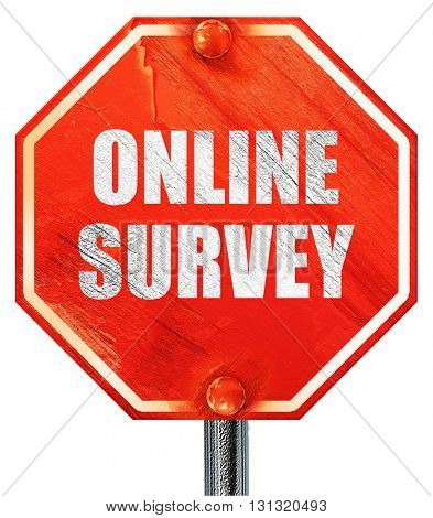 online survey, 3D rendering, a red stop sign