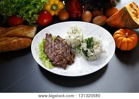 meat rice vegetables potato