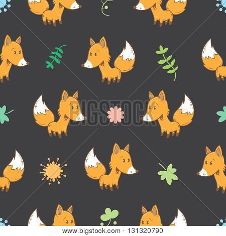 Seamless pattern with cute cartoon foxes plants and flowers on dark background. Funny forest animals. Vector image. Children's illustration.