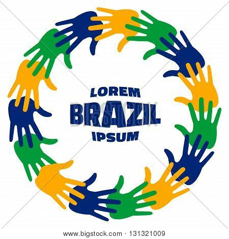 Colorful fifteen hand print logo using Brazil flag colors. Vector  illustration.