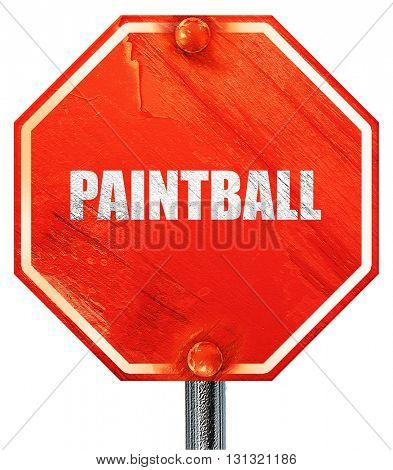 paintball, 3D rendering, a red stop sign