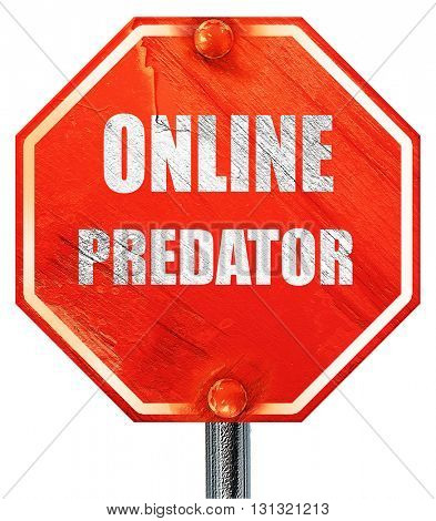 online predator background, 3D rendering, a red stop sign