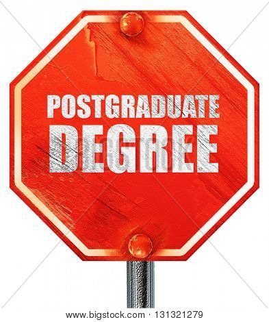 postgraduate degree, 3D rendering, a red stop sign