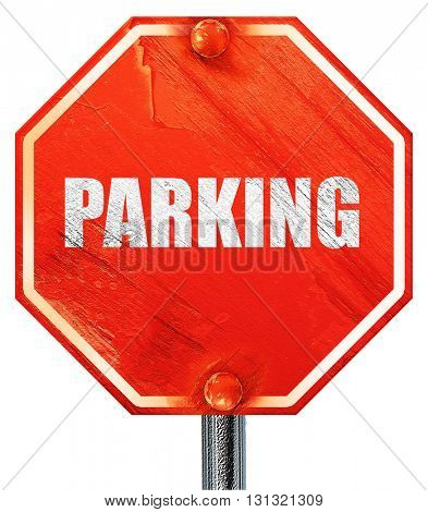 parking, 3D rendering, a red stop sign