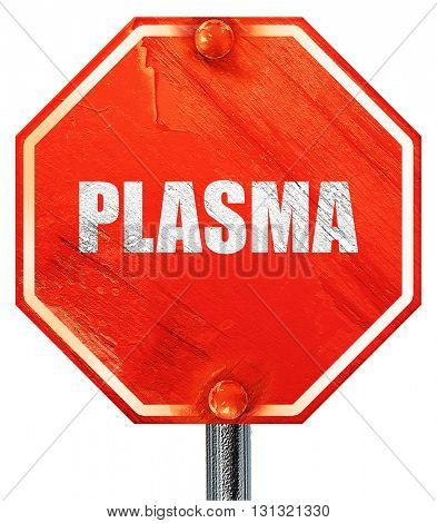 plasma, 3D rendering, a red stop sign