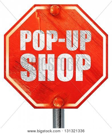 pop-up shop, 3D rendering, a red stop sign