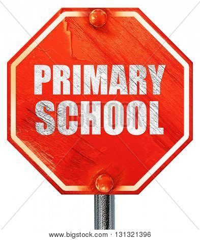primary school, 3D rendering, a red stop sign