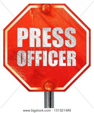 press officer, 3D rendering, a red stop sign