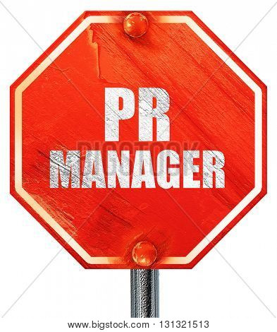 pr manager, 3D rendering, a red stop sign