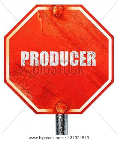 producer, 3D rendering, a red stop sign