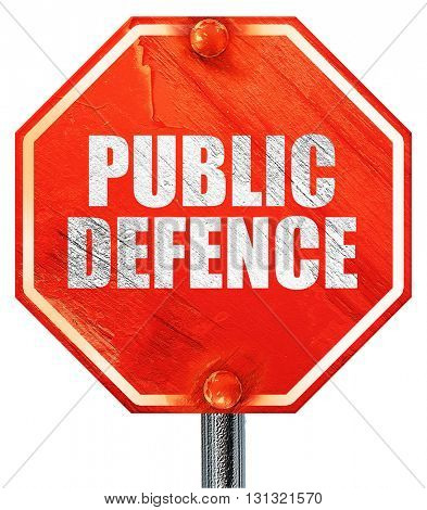 public defence, 3D rendering, a red stop sign