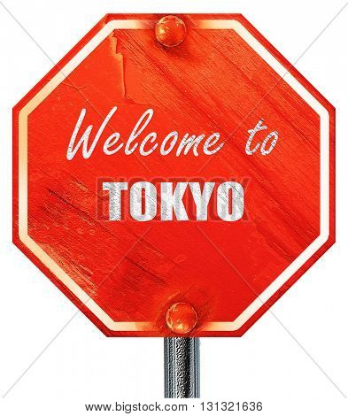Welcome to tokyo, 3D rendering, a red stop sign