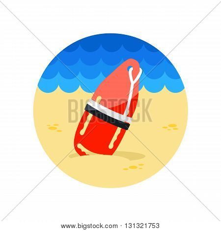 Support help and assistance with torpedo rescue lifeguard buoy vector icon. Beach. Summer. Summertime. Vacation eps 10