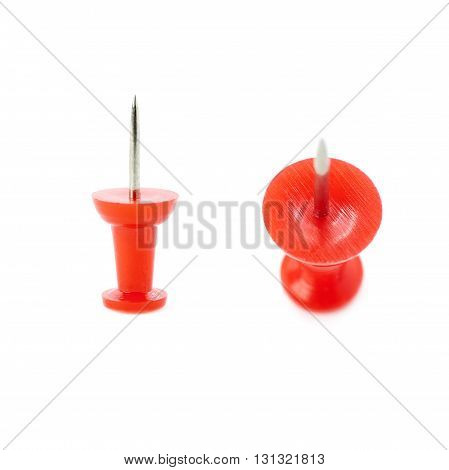 Set of Plastic red pin isolated over the white background
