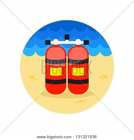 Oxygen tank vector icon. Beach. Summer. Summertime. Vacation eps 10