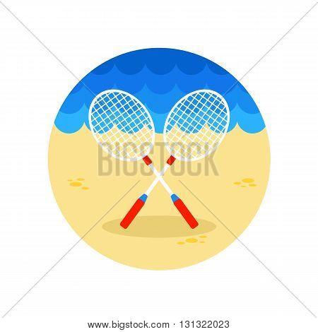 Badminton Racket vector icon. Beach. Summer. Summertime. Vacation eps 10