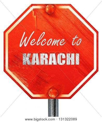Welcome to karachi, 3D rendering, a red stop sign