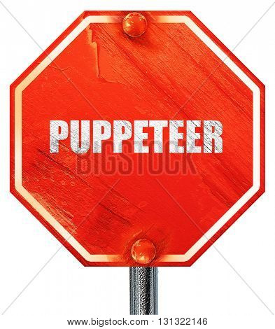 puppeteer, 3D rendering, a red stop sign