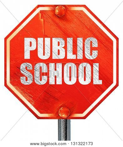 public school, 3D rendering, a red stop sign