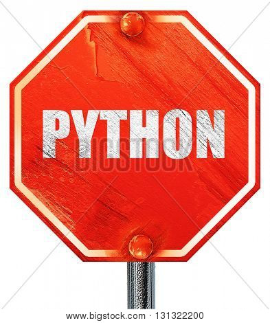python computer language, 3D rendering, a red stop sign