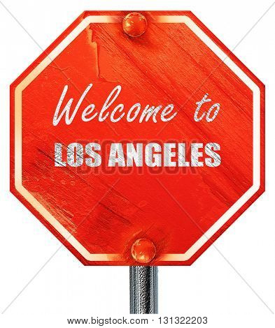 Welcome to los angeles, 3D rendering, a red stop sign