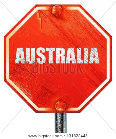 Greetings from australia, 3D rendering, a red stop sign