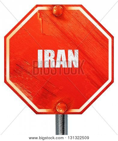 Greetings from iran, 3D rendering, a red stop sign
