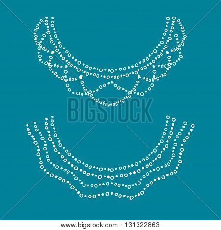 Neckline design. Embroidery drawing white and light blue colors.