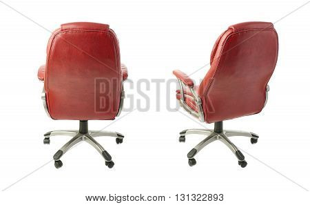 Set of Red leather Office chair over isolated white background