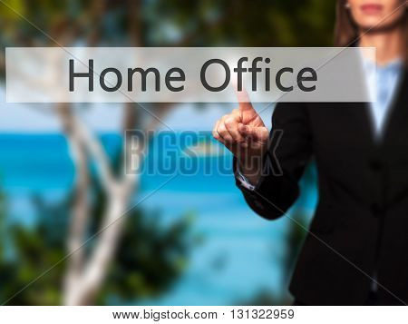 Home Office - Businesswoman Hand Pressing Button On Touch Screen Interface.