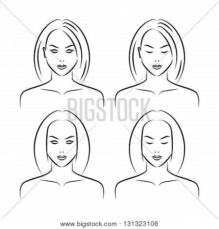 Set of beauty women faces isolated on a white background. Drawing female face