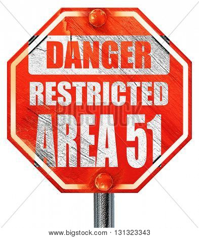 area 51 sign, 3D rendering, a red stop sign