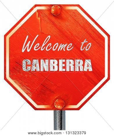 Welcome to canberra, 3D rendering, a red stop sign