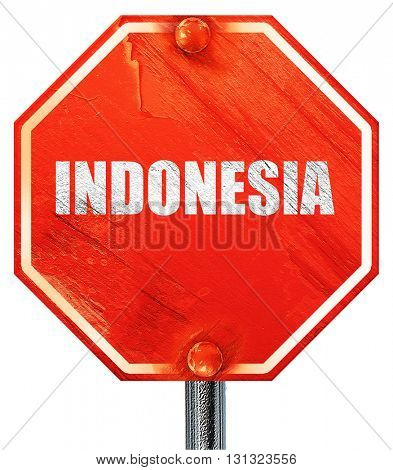 Greetings from indonesia, 3D rendering, a red stop sign