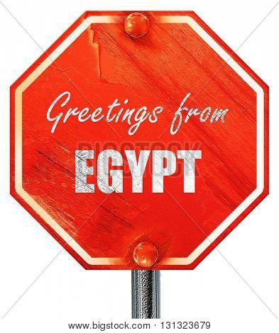 Greetings from egypt, 3D rendering, a red stop sign
