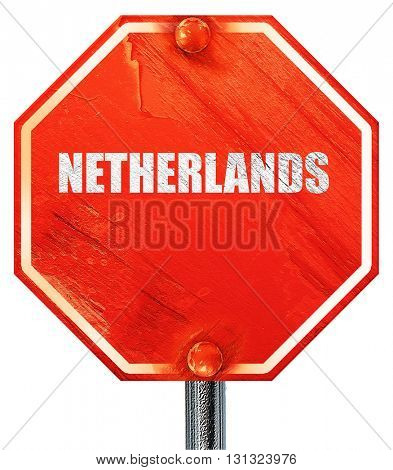 Greetings from netherlands, 3D rendering, a red stop sign