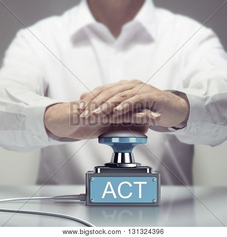 Hand about to press an action button. Concept for urgent acting. Composite image between a photography and a 3D buzzer.